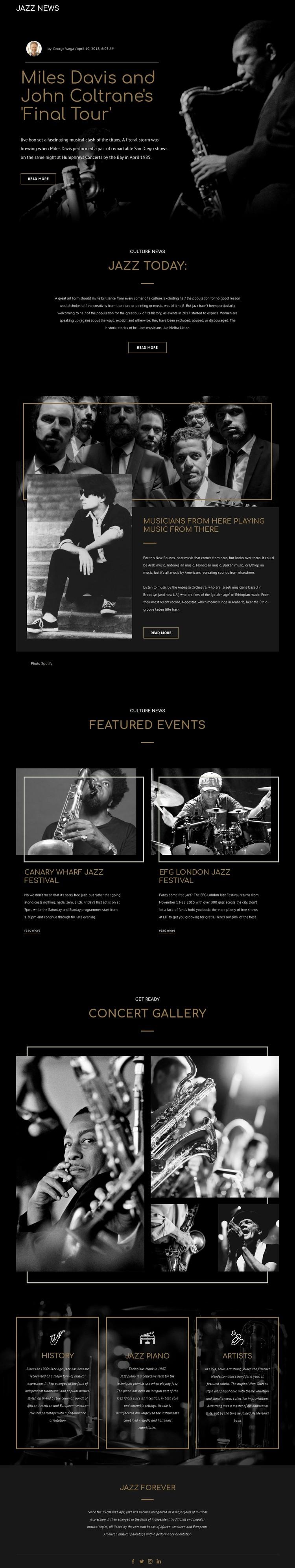 Legengs of jazz music WordPress Template