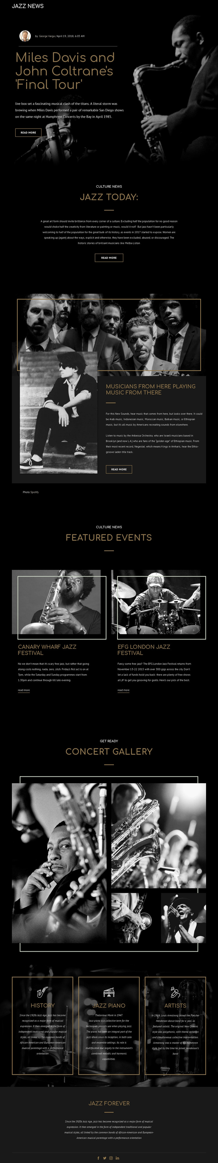 Legengs of jazz music WordPress Theme