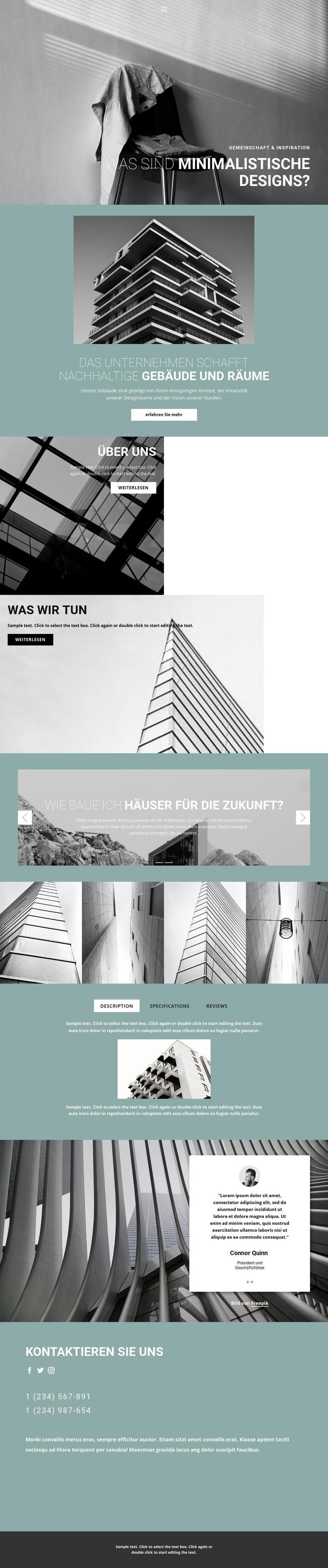 Perfekte Architekturideen Website-Vorlage