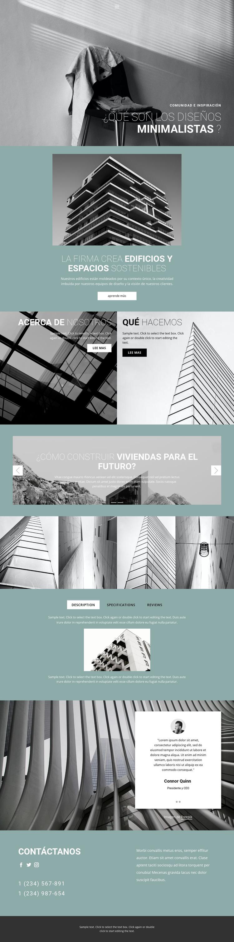 Ideas perfectas de arquitectura Plantilla de sitio web