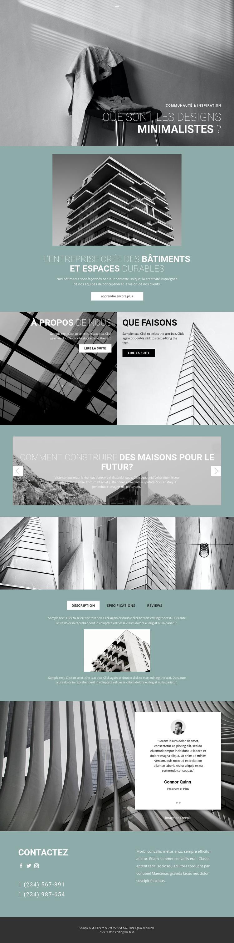 Idées d'architecture parfaites Modèle de site Web