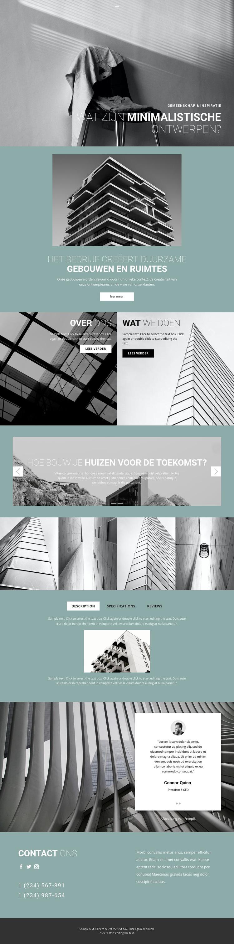 Perfecte architectuurideeën Website sjabloon