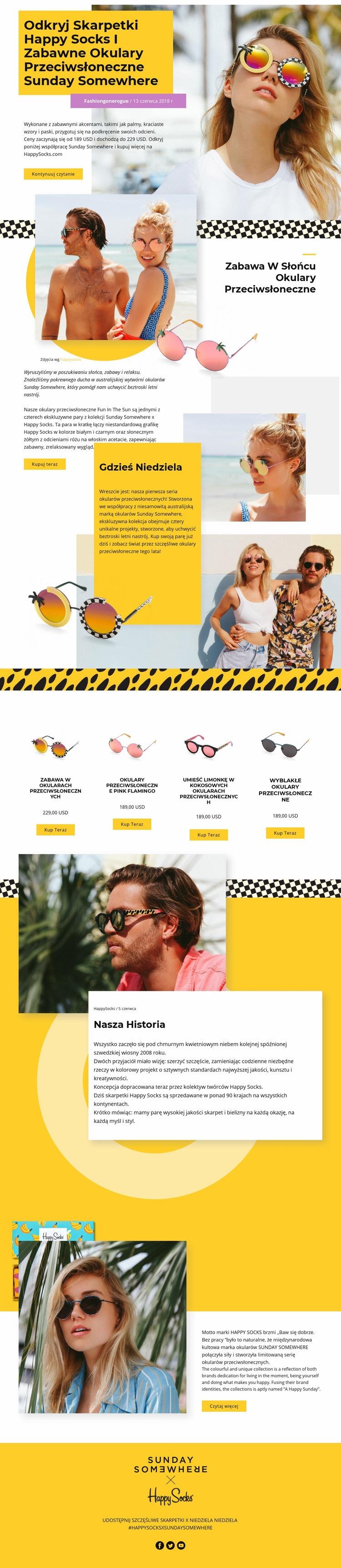 Okulary słoneczne Szablon witryny sieci Web