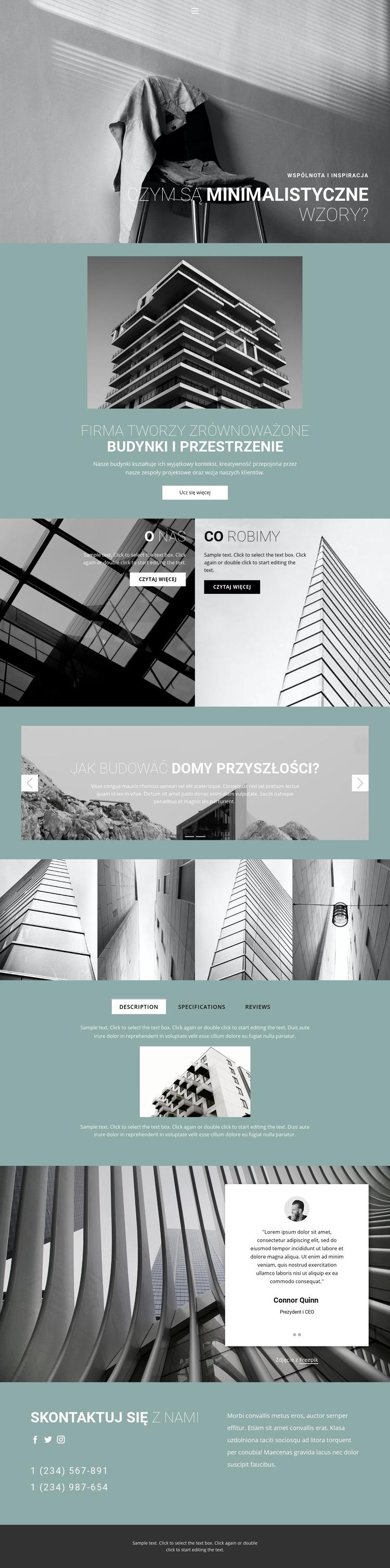 Idealne pomysły architektoniczne Szablon witryny sieci Web