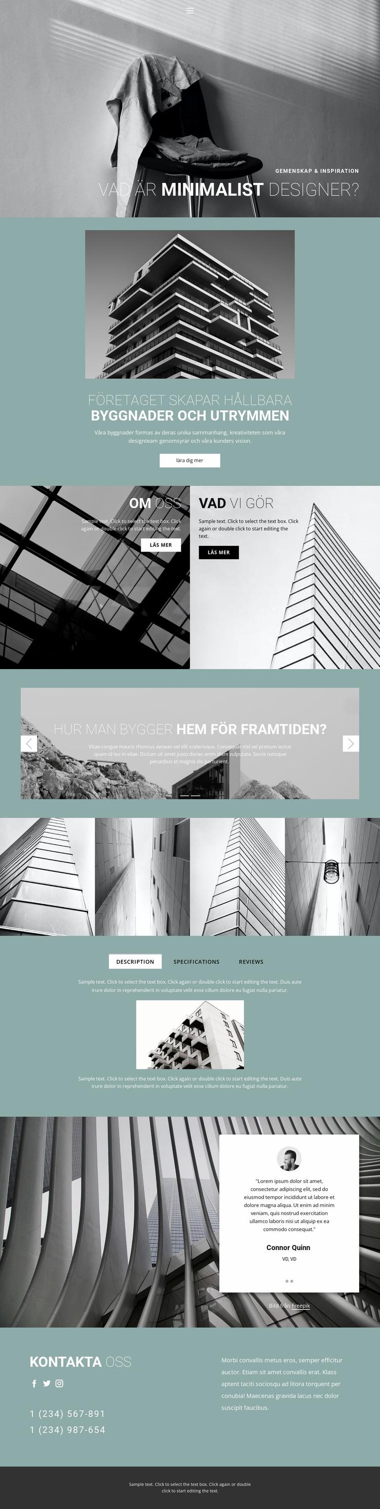 Perfekta arkitekturidéer Webbplats mall