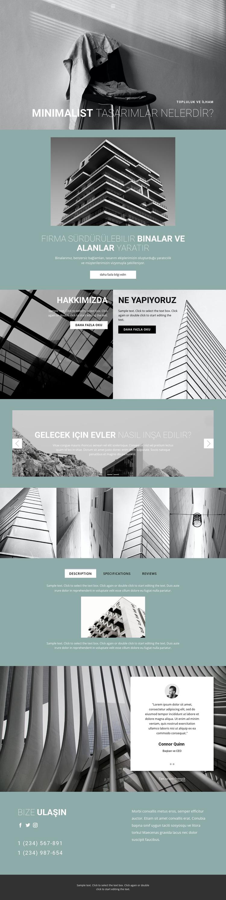 Mükemmel mimari fikirler Web Sitesi Şablonu