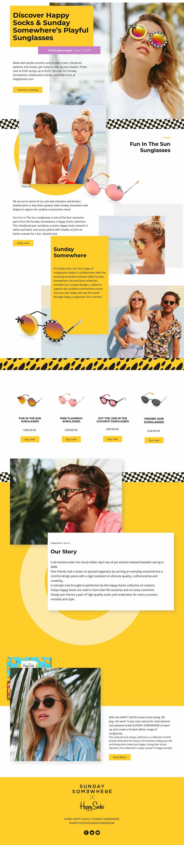 Sunglasses Web Page Design