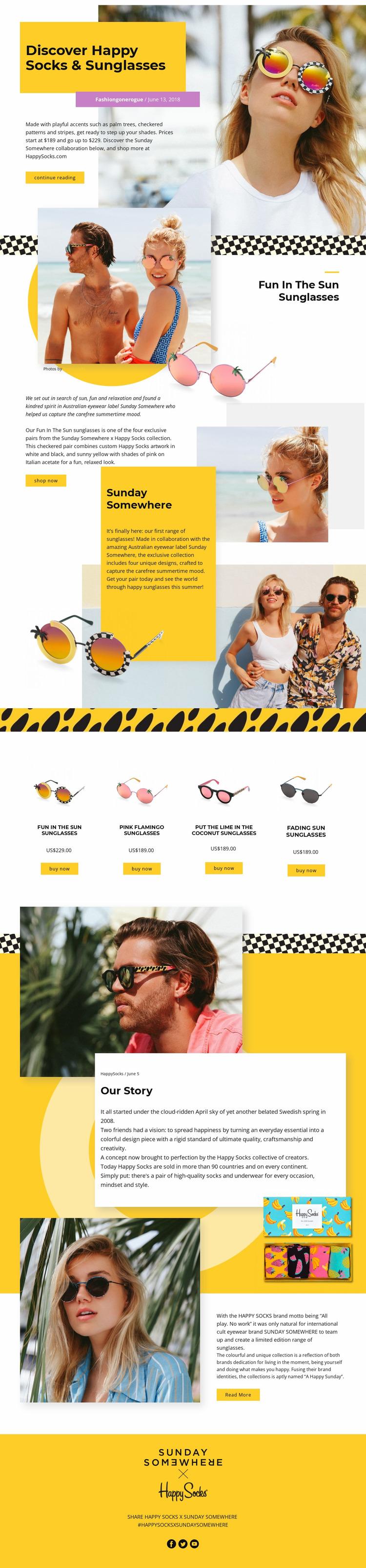 Sunglasses Website Mockup