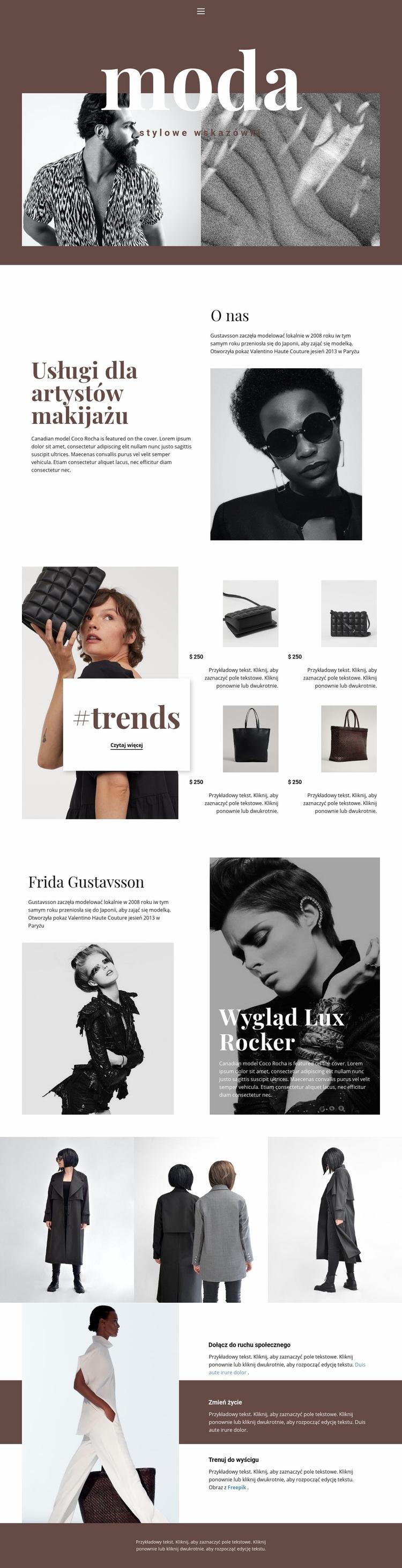 Porady kosmetyczne stylistów Szablon witryny sieci Web