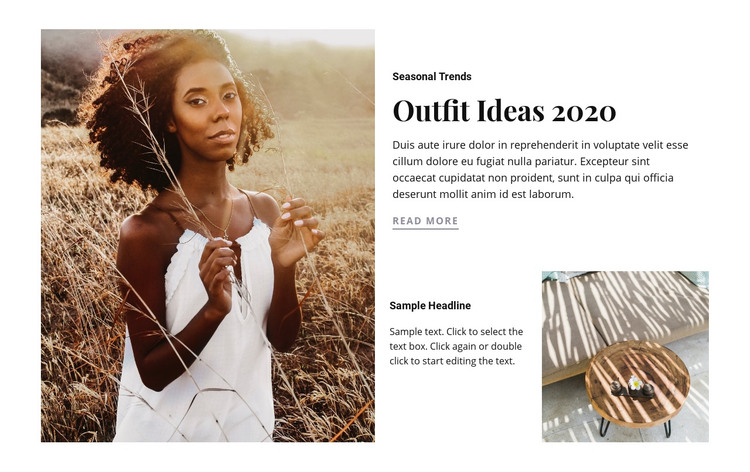 Outfit ideas Homepage Design
