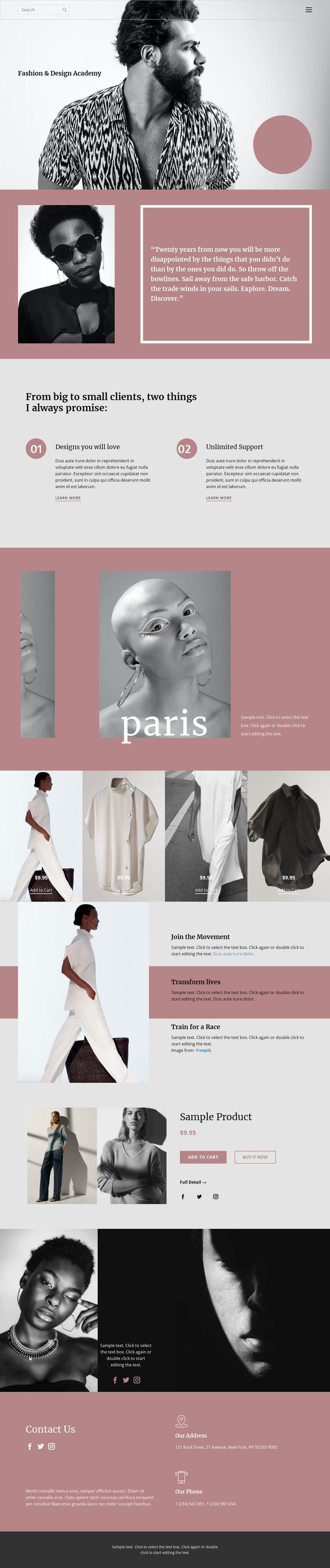Fashion studio One Page Template