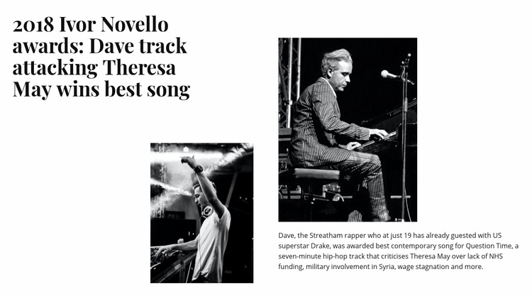 Music performance news Web Page Designer