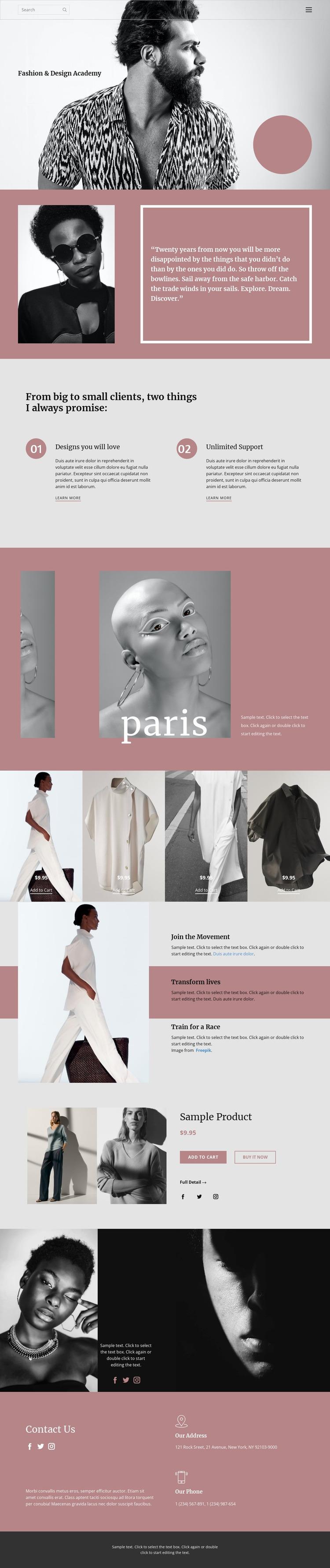 Fashion studio Website Mockup