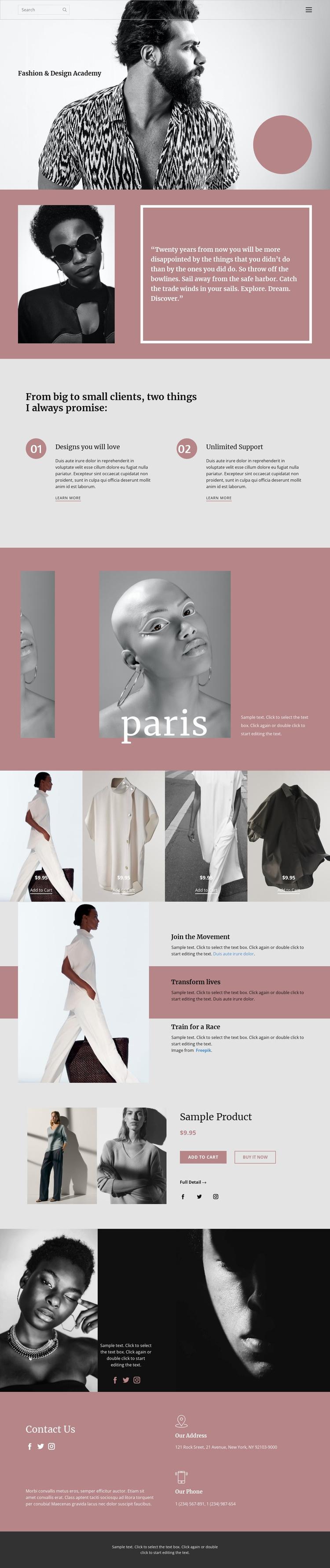 Fashion studio Landing Page