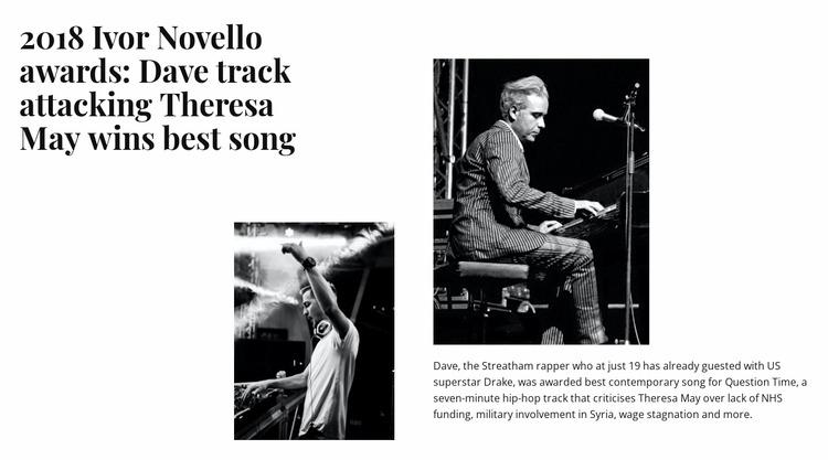 Music performance news WordPress Website Builder