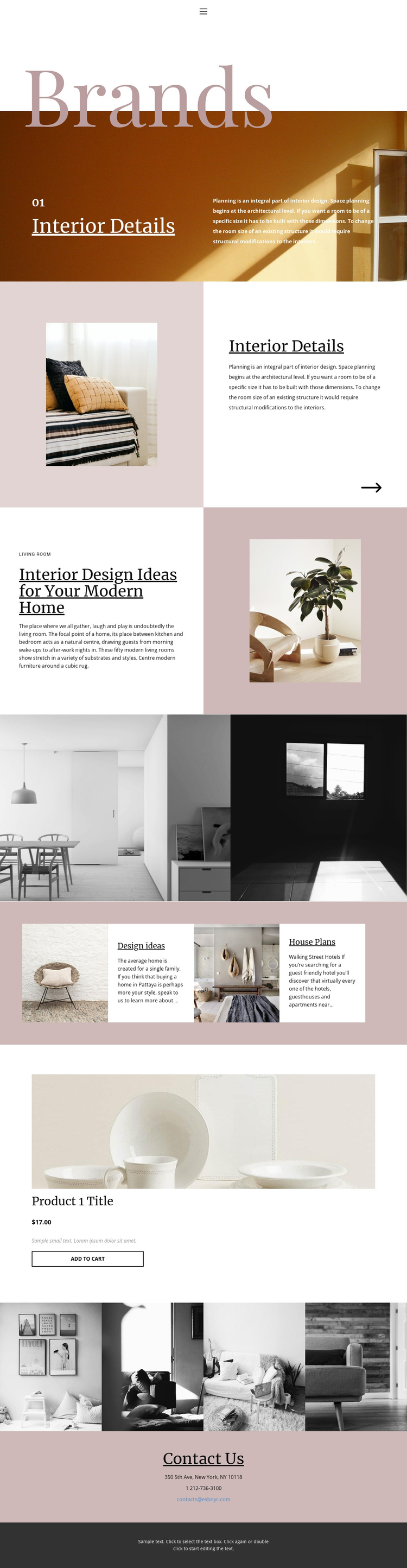 I am an interior designer One Page Template