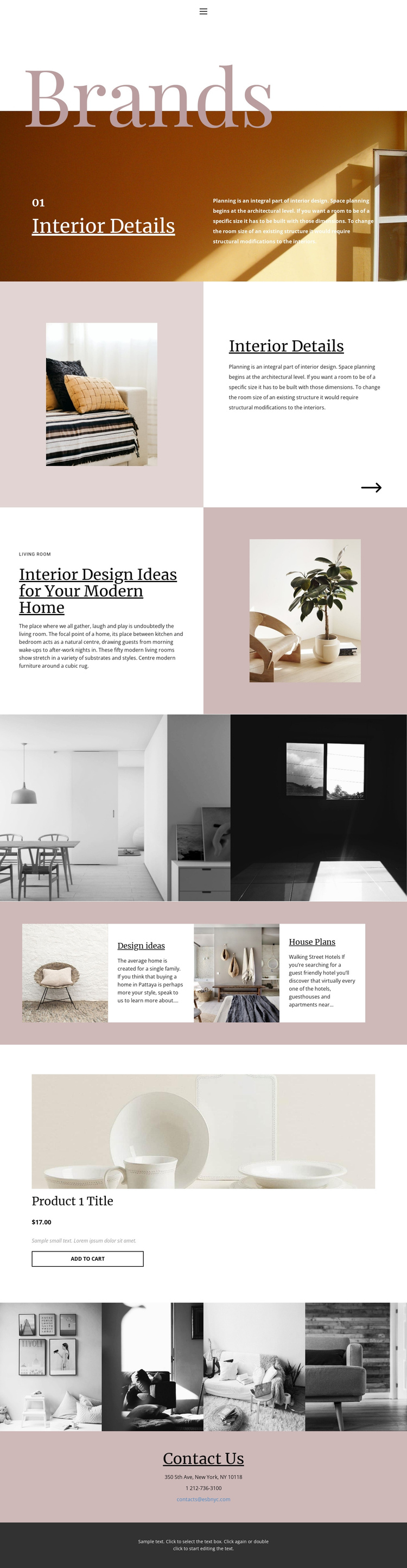 Interior details Website Builder Software