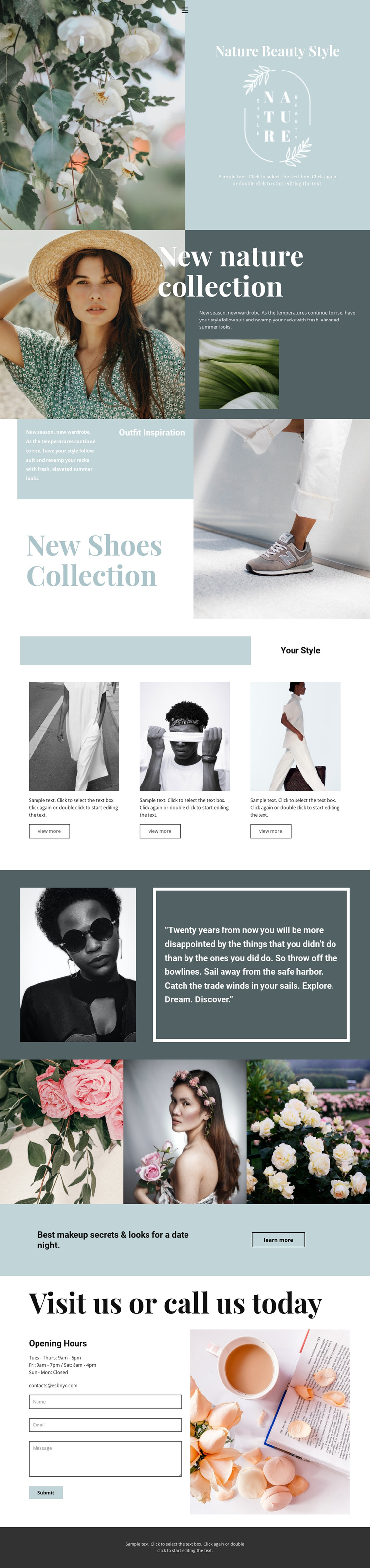 Nature collection One Page Template
