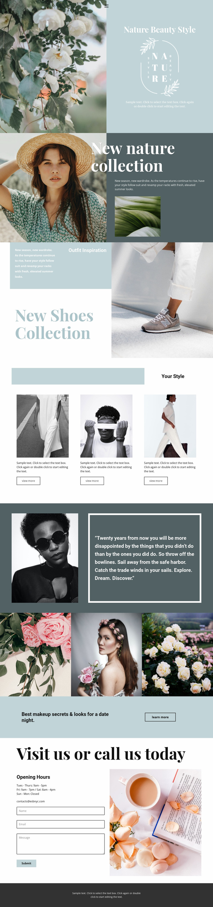 Nature collection Website Mockup