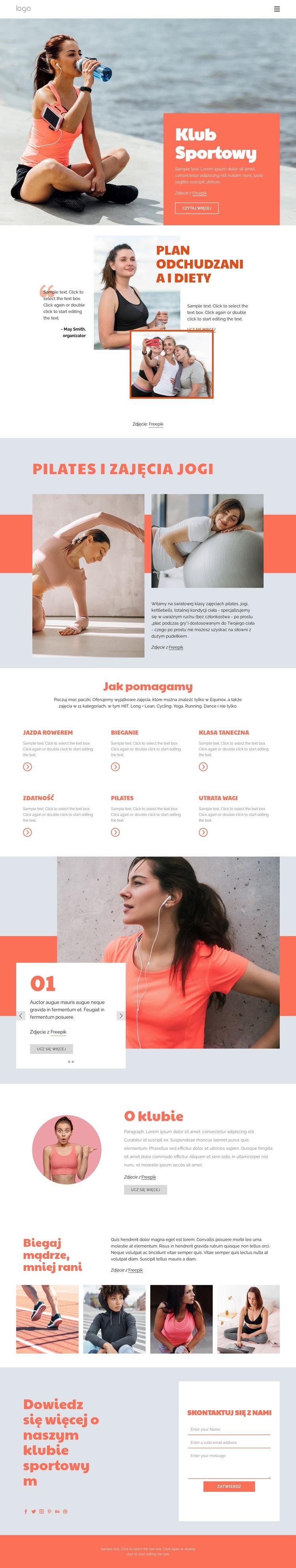Pilates vs joga Szablon witryny sieci Web