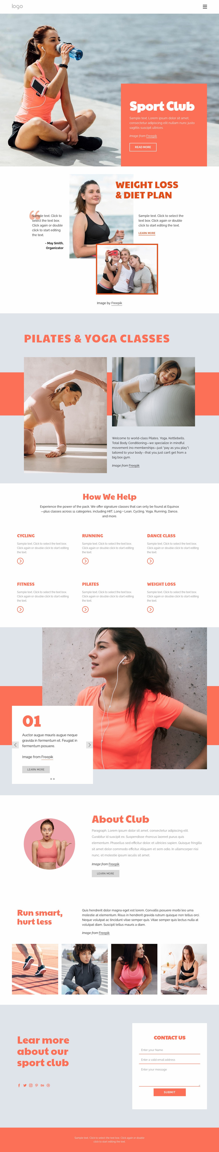 Pilates vs yoga Website Mockup