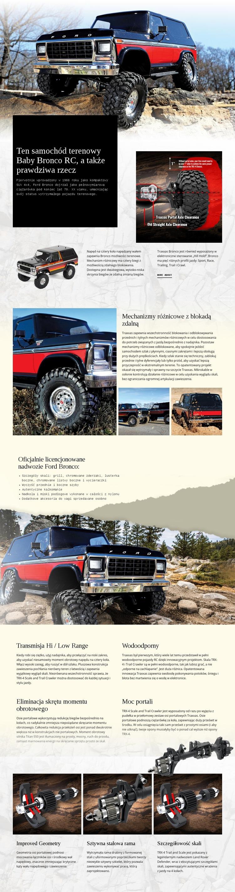 Bronco RC Car Szablon witryny sieci Web