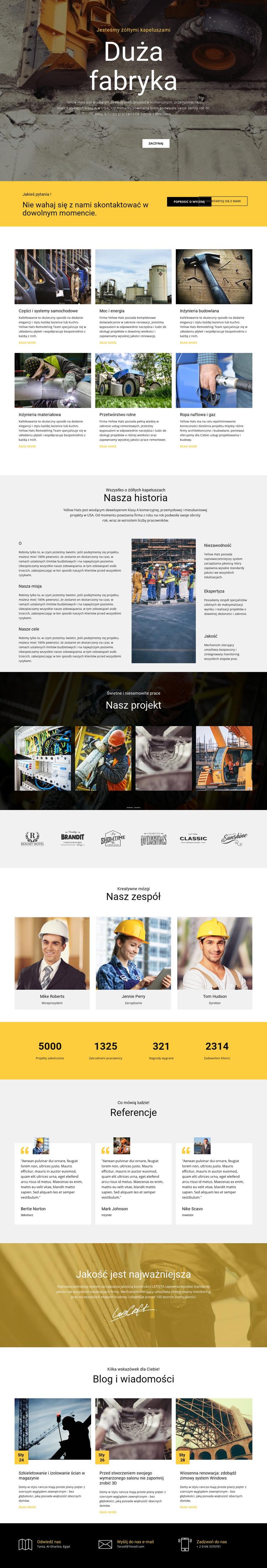 Fabryka działa w przemyśle Szablon witryny sieci Web