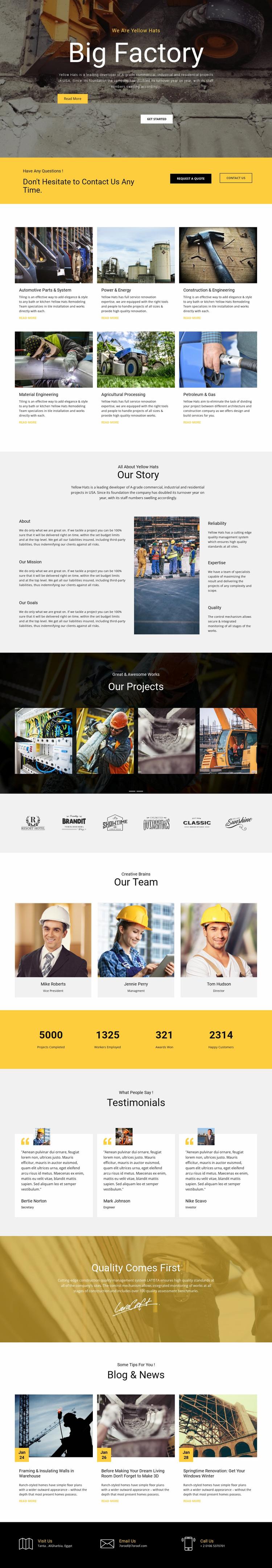 Factory works industrial Website Design