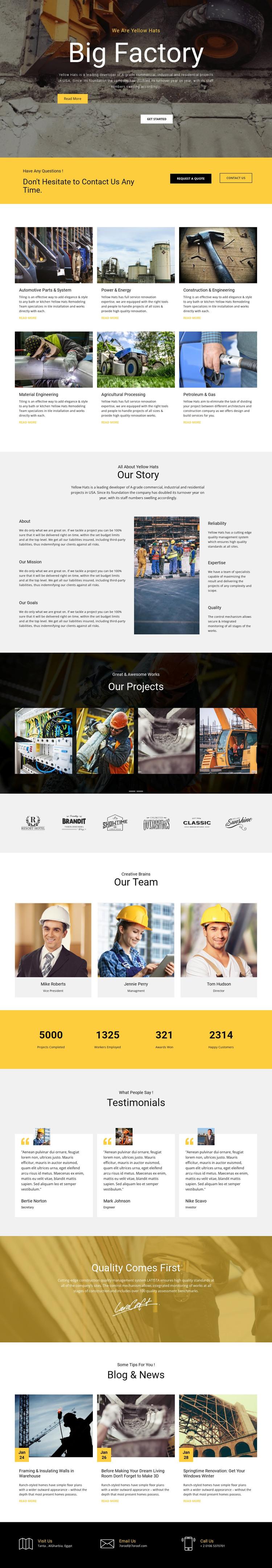 Factory works industrial WordPress Theme