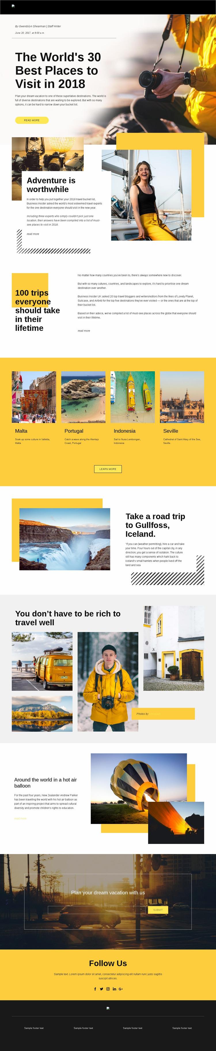 Best Places to Visit Website Mockup