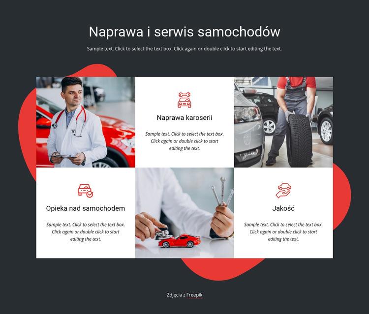 Serwis i naprawy pojazdów Szablon witryny sieci Web