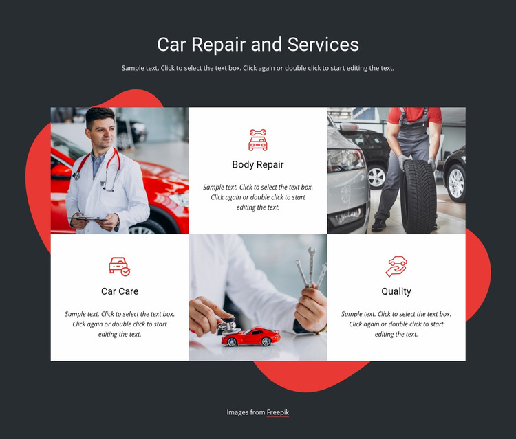 Vehicle service and repairs Web Page Design