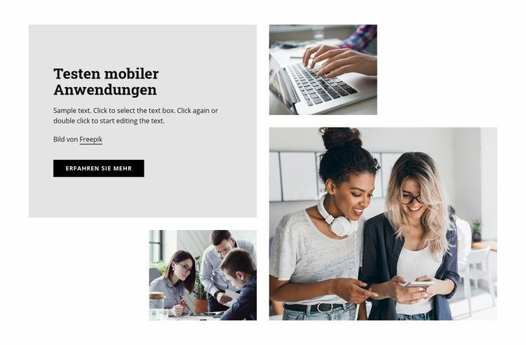 Testen mobiler Anwendungen Website-Vorlage