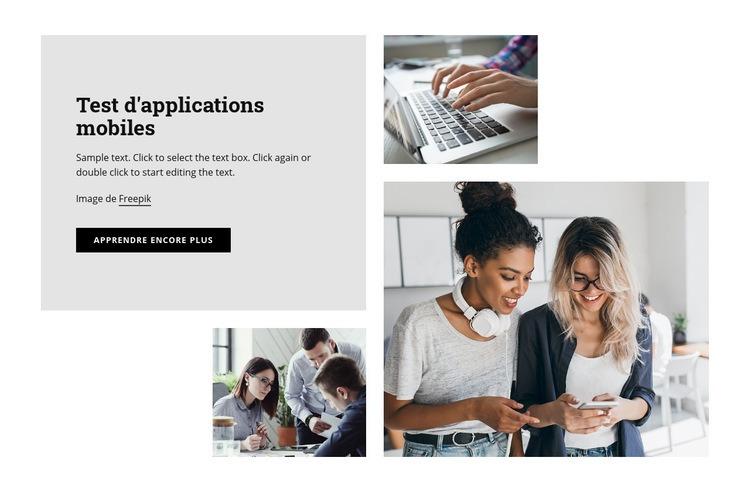 Test d'applications mobiles Modèle de site Web