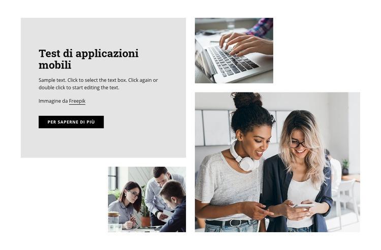 Test di applicazioni mobili Modello di sito Web