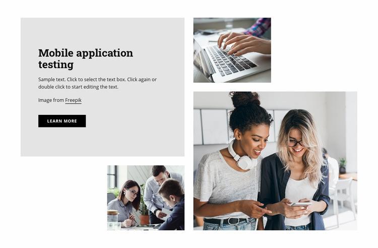 Mobile application testing Web Page Design