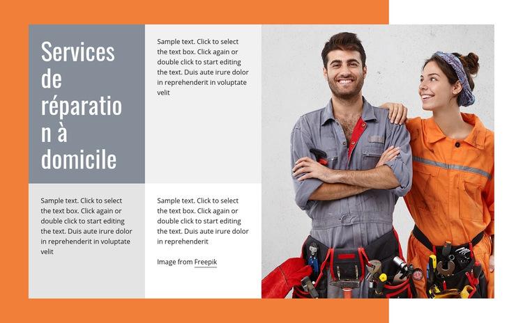 Réparation de plomberie Modèle de site Web