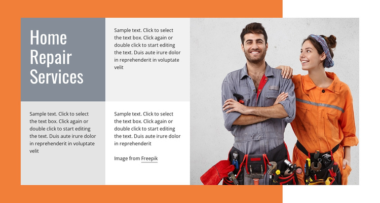 Plumbing repairs One Page Template