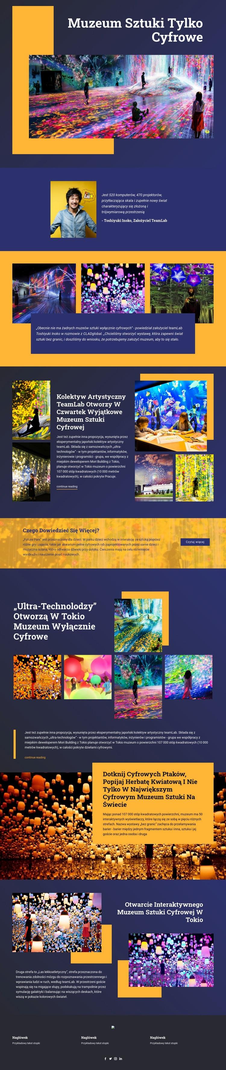 Muzeum Sztuki Cyfrowej Szablon witryny sieci Web