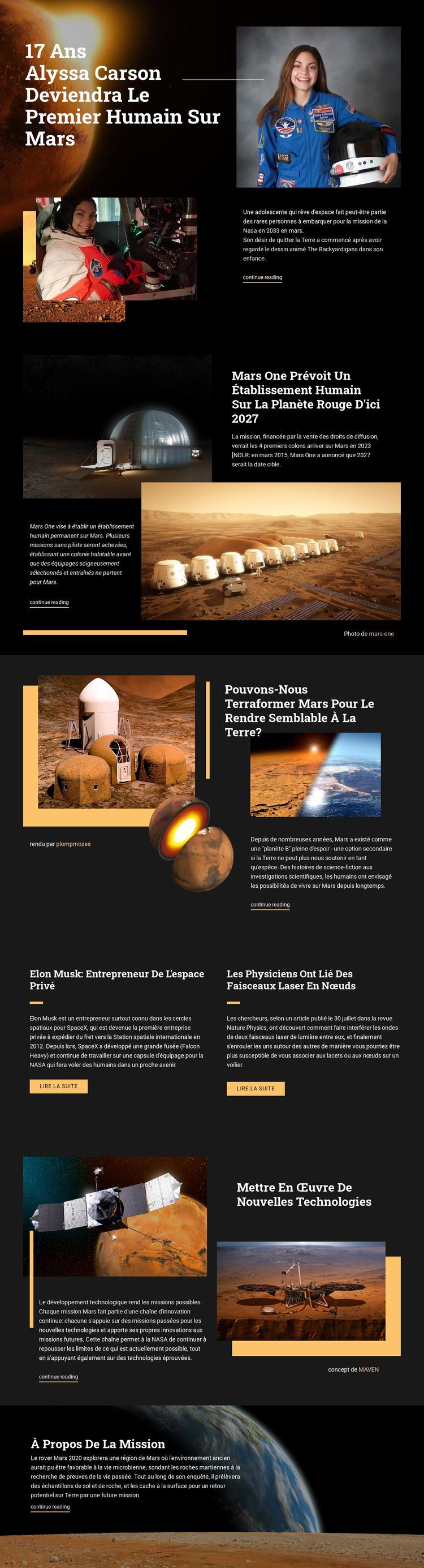 Premier humain sur Mars Modèle de site Web