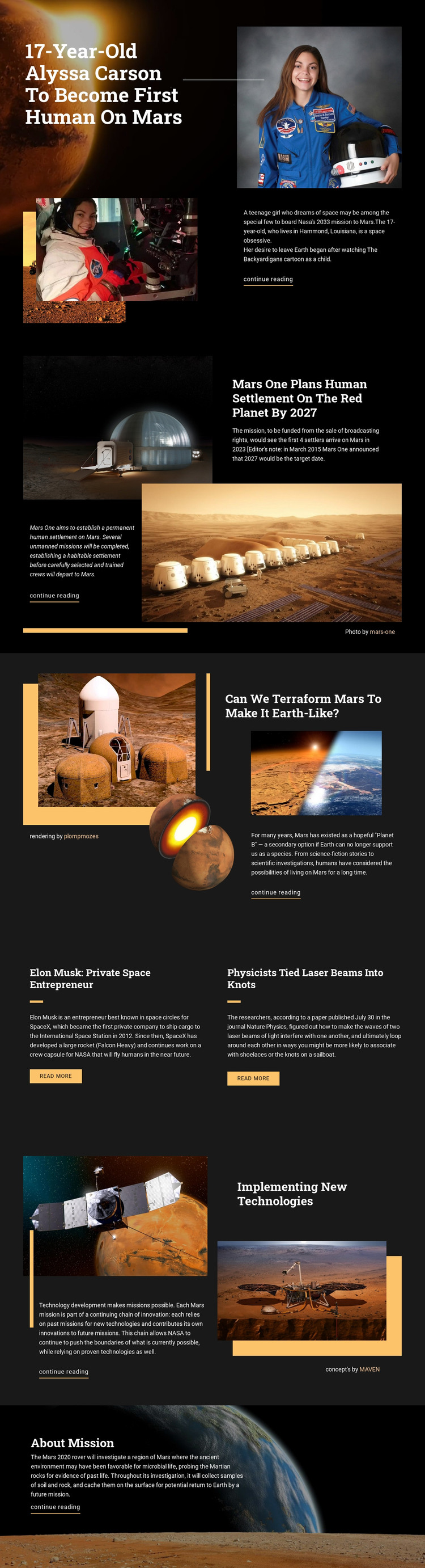 First Human On Mars Homepage Design
