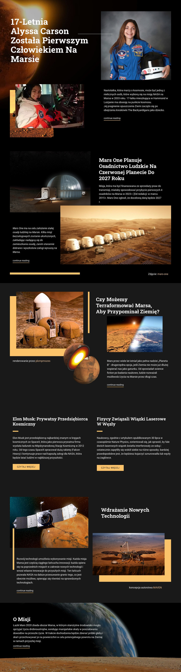 Pierwszy człowiek na Marsie Szablon witryny sieci Web