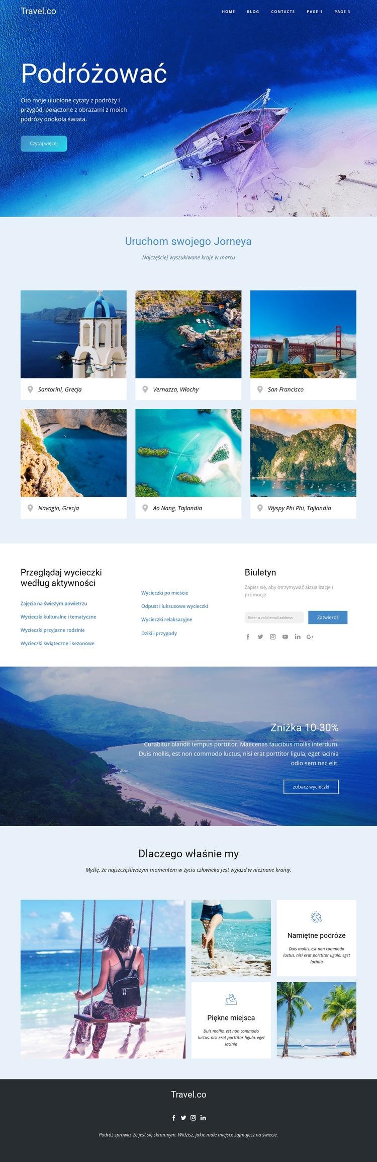 Niesamowite pomysły na podróż Szablon witryny sieci Web