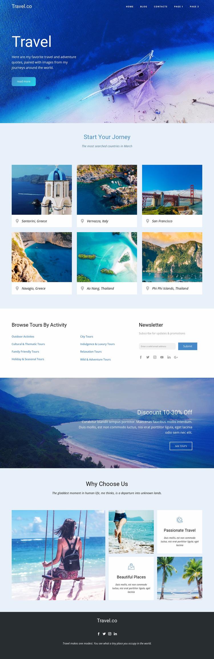 Amazing ideas for travel WordPress Website