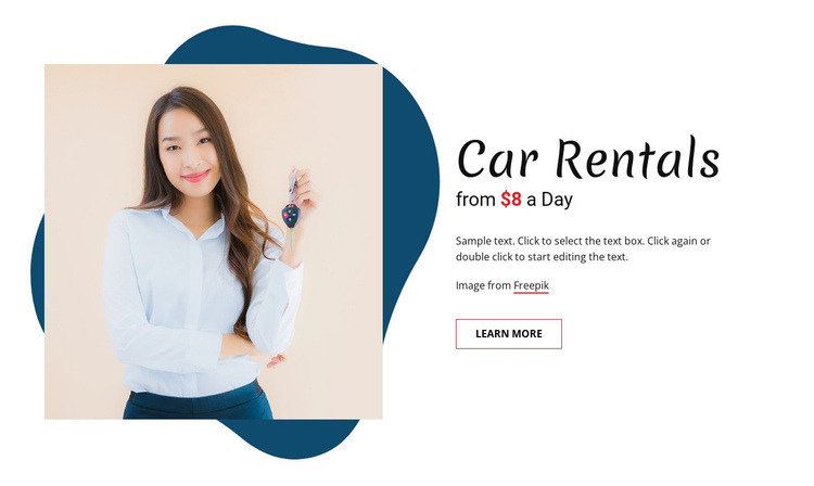 Car rentals One Page Template