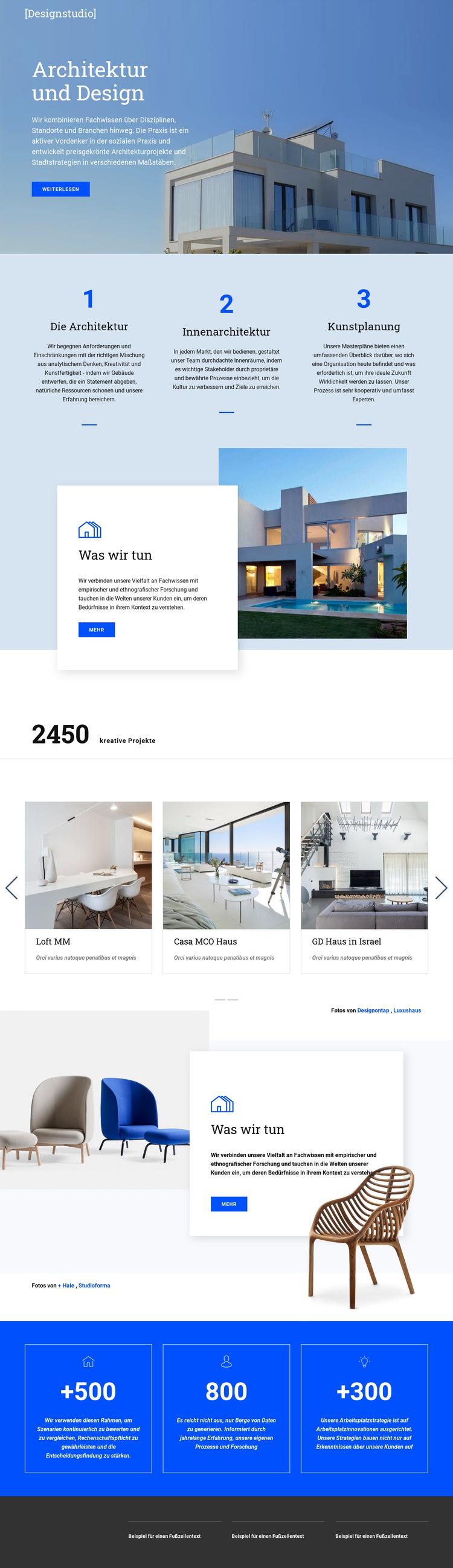 Architektur und Design Website-Vorlage
