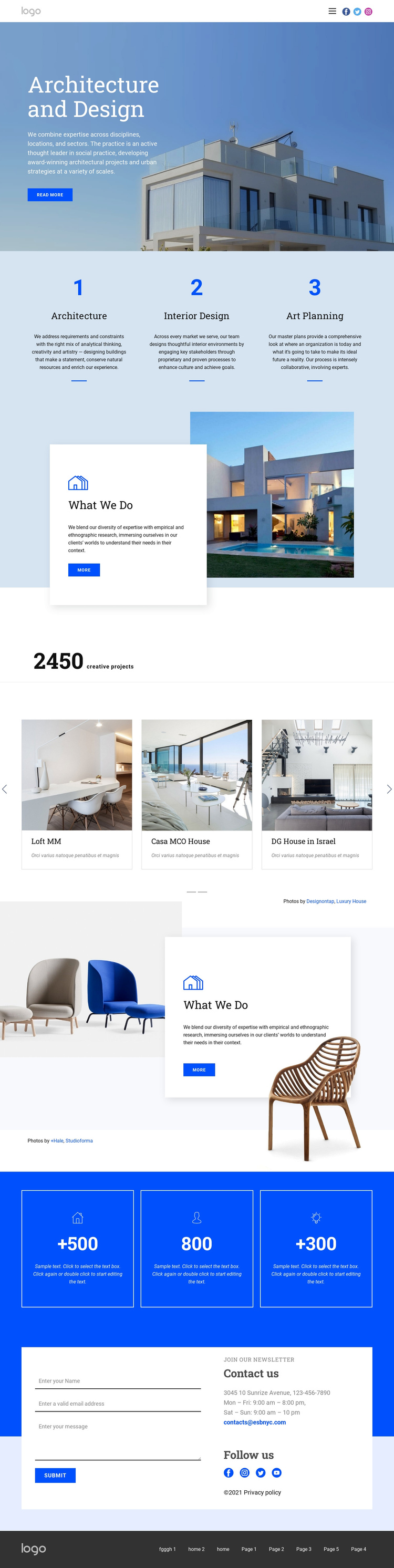 Architecture and design One Page Template