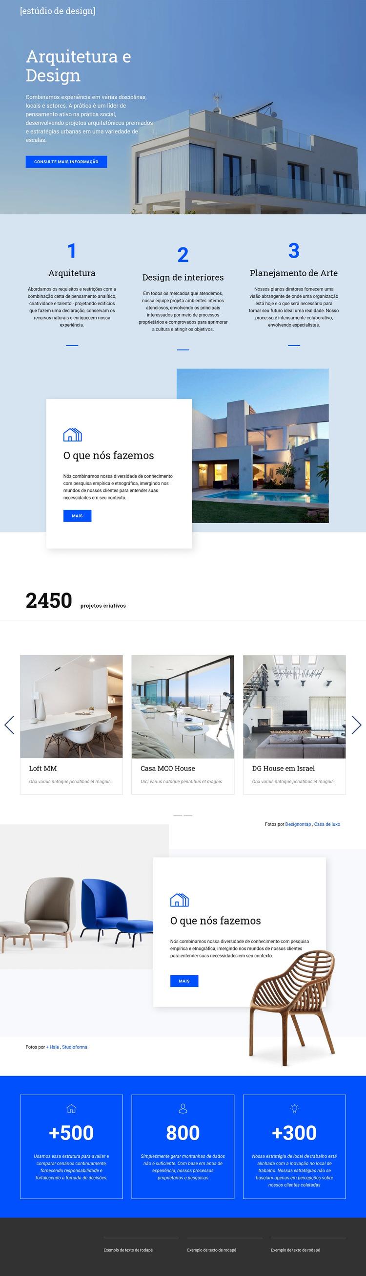 Arquitetura e design Modelo de site