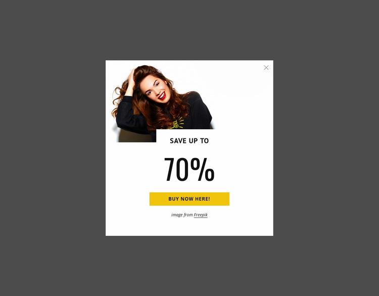 Sale popup Web Page Design