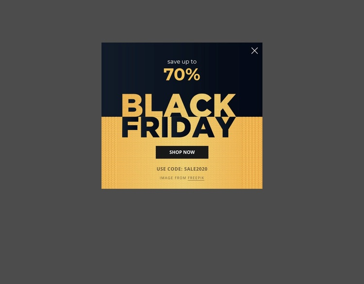 Black friday popup with image background Html Code